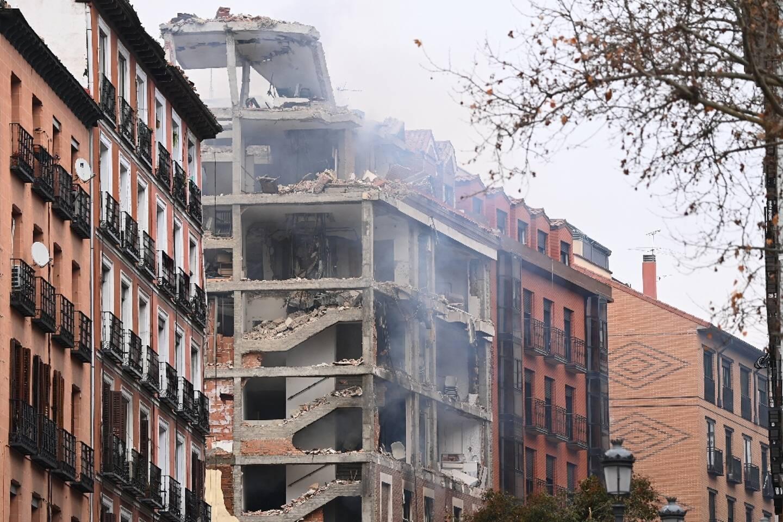 Un immeuble détruit par une explosion à Madrid le 20 janvier 2021