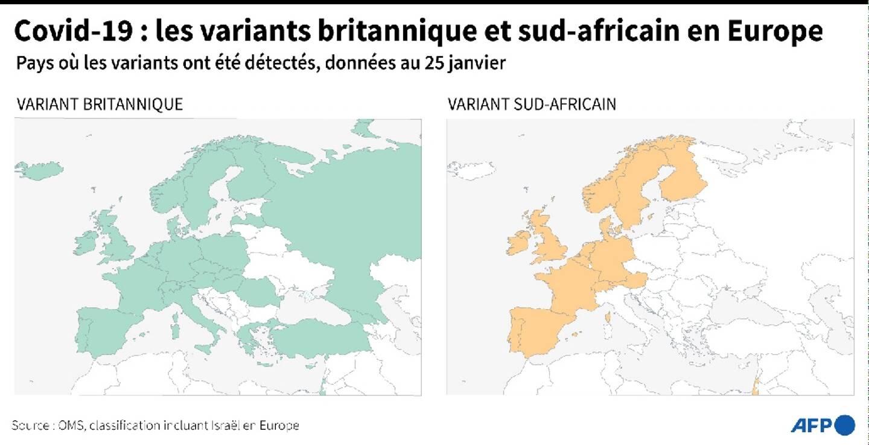 Covid-19 : les variants britannique et sud-africain en Europe