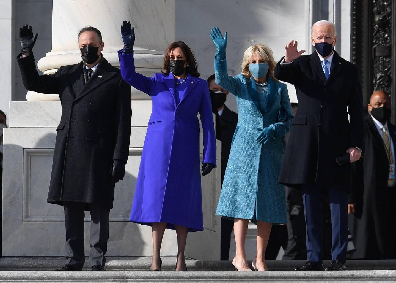 (De G à D) Doug Emhoff, Kamala Harris, Jill Biden et Joe Biden, au Capitole, le 20 janvier 2021