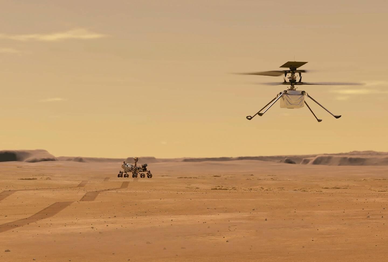 Cette photo de la  NASA obtenue le 24 mars 2021 montre une illustration du mini-hélicoptère Ingenuity pendant un vol d'essai sur Mars