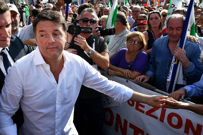 L'ancien président du Conseil italien Matteo Renzi lors d'un meeting du Parti démocrate à Rome, le 30 septembre 2018