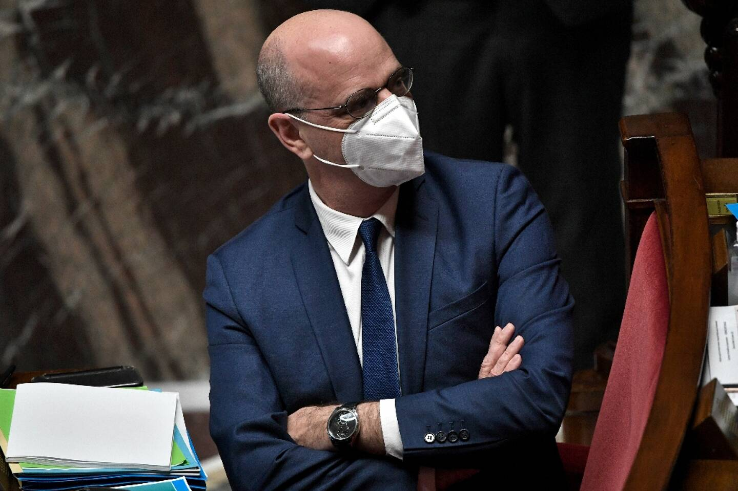 Le ministre de l'Education Jean-Michel Blanquer à l'Assemblée nationale à Paris le 19 janvier 2021