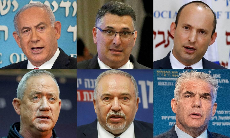Photomontage des chefs des principaux partis en lice aux élections législatives en Israël du 23 mars 2021