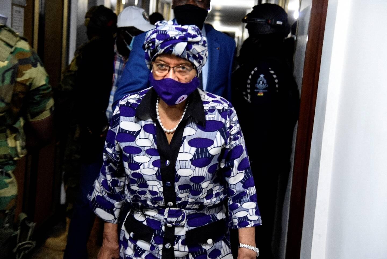 Ellen Johnson Sirleaf ancienne présidente du Libéria, le 9 décembre  2020 lors d'une réunion à Accra