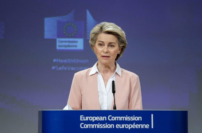 La présidente de la Commission européenne Ursula von der Leyen, lors d'une conférence de presse à Bruxelles, le 17février 2021