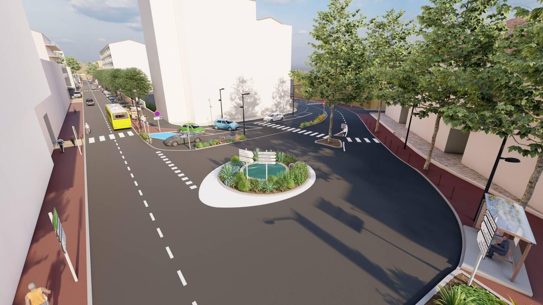 Le square Rastigny et sa perspective sur le Bd Carnot transformé, comme l'ont été avant lui d'autres entrées de ville : le boulevard Thiers en 2019, puis les avenues Georges-Pompidou et Maréchal-De-Lattre-de-Tassigny en 2020. (Illustrations ville de Grasse)