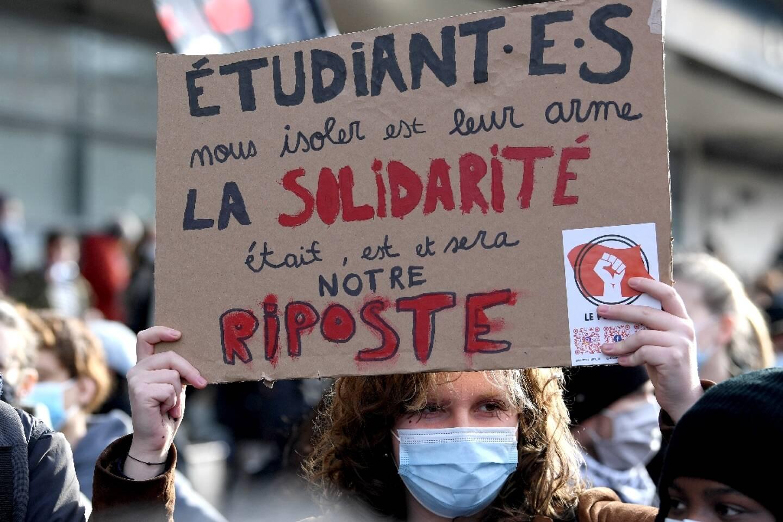 Manifestation d'étudiants contre la précarité, le 20 janvier 2021 à Paris