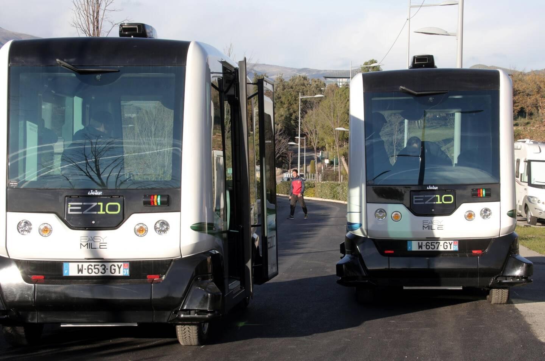 Les navettes autonomes, à Biot, à l'essai en 2016.