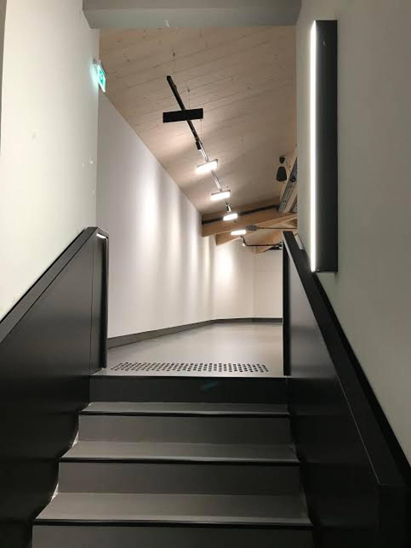 Après avoir cheminé l'escalier, c'est une immesion totale avec deux plateaux d'environ 100 m2, aérés, où l'artiste exposant aura possibilité de rajouter des panneaux mobiles pour orchestrer l'architecture de son expo.