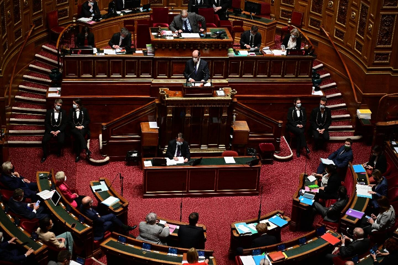 Le Premier ministre Jean Castex au Sénat le 1 avril 2021.