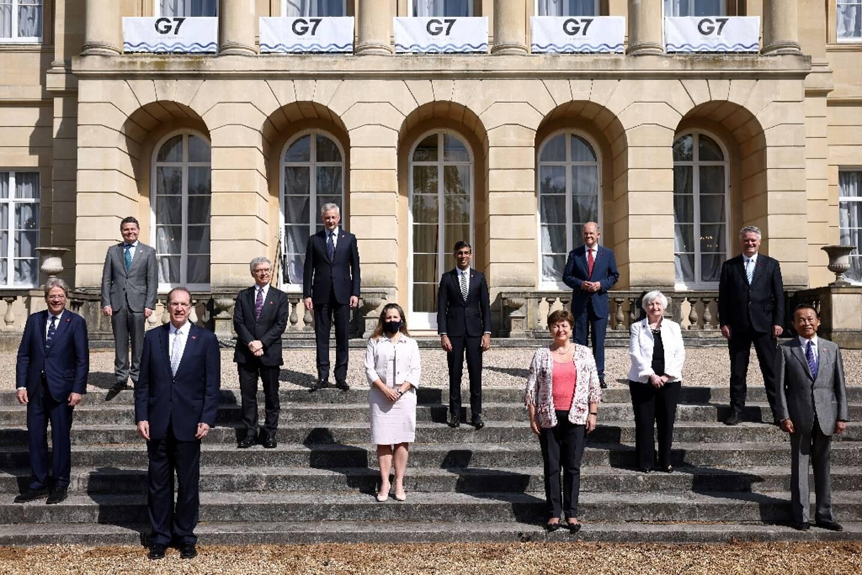 Photo de familles des ministres des Finances du G7, le 5 juin 2021 à Londres