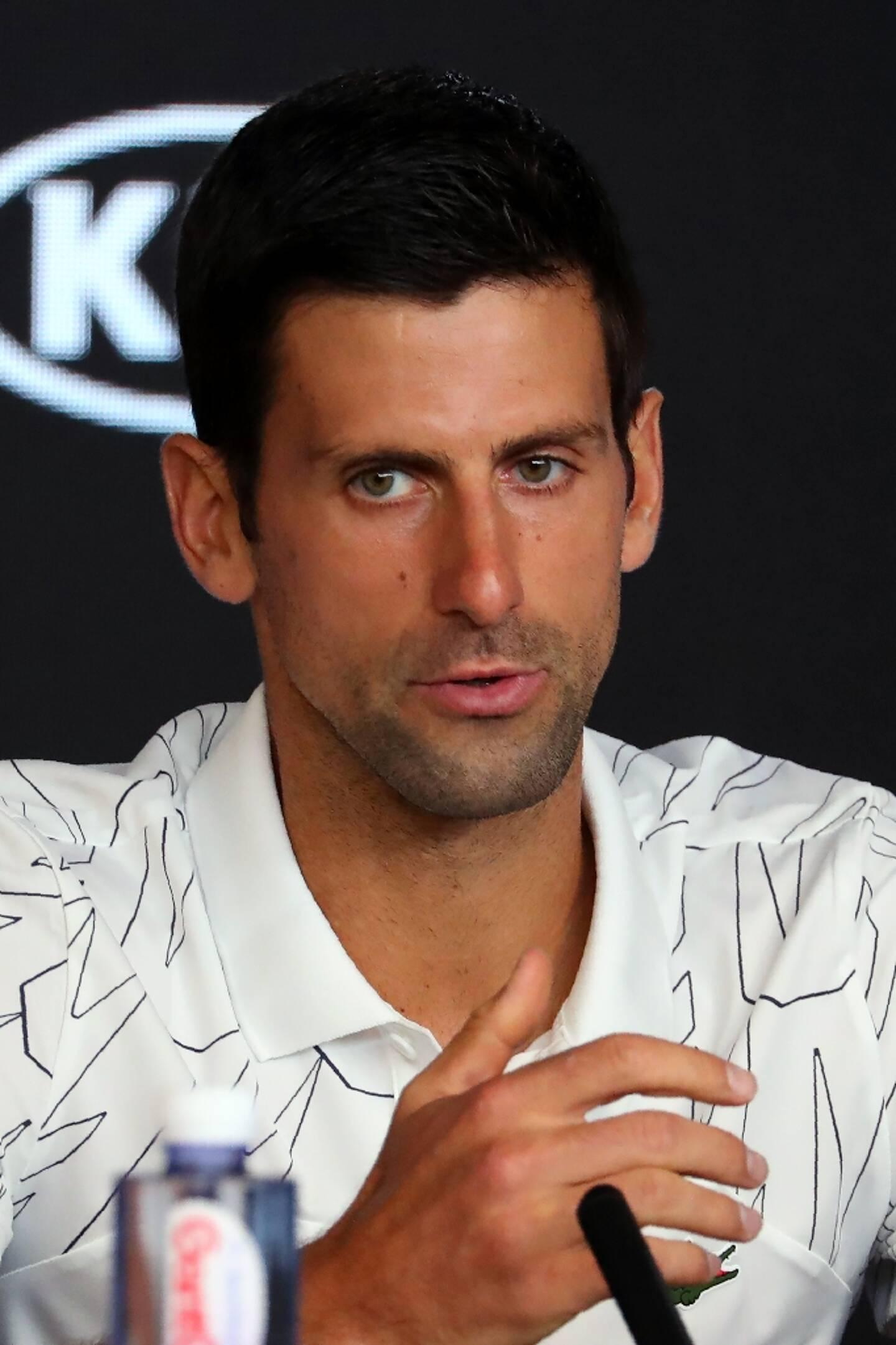 Le Serbe Novak Djokovic, lors d'une conférence de presse, le 19 janvier 2020 avant le début de l'Open d'Australie à Melbourne