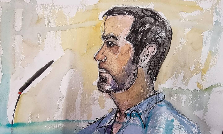 Dessin de Nordahl Lelandais à son procès le 3 mai 2021 à Chambéry