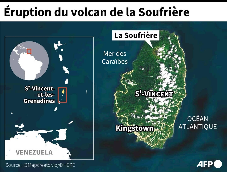 Carte localisant le volcan de La Soufrière dans le nord de l'île Saint-Vincent, entré en éruption le 9 avril 2021