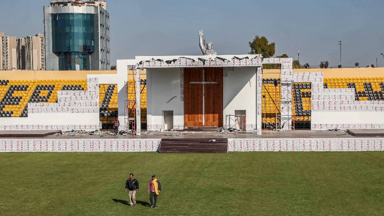 Le stade d'Erbil, qui accueillera quelque 4.000 fidèles pour la messe du pape François en Irak, le 27 février 2021