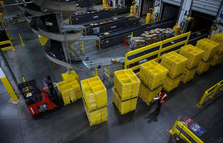 Un entrepôt d'Amazon à Staten Island, en février 2019 à New York