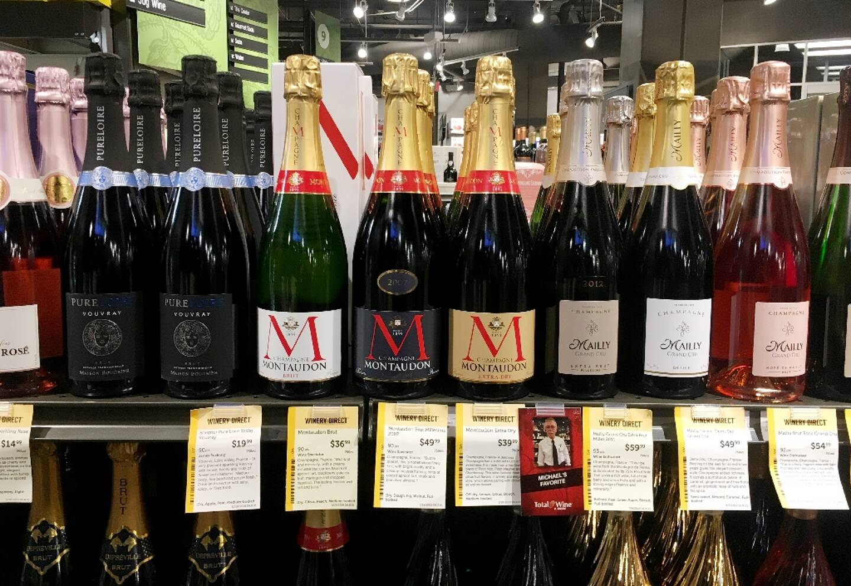 Des bouteilles de champagne en vente dans un magasin d'Arlington, aux Etats-Unis, le 3 décembre 2019