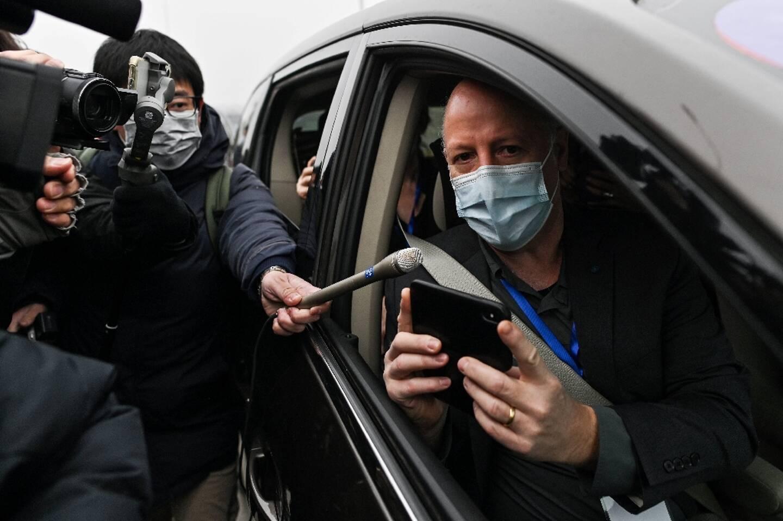 Peter Daszak, membre de l'équipe d'experts de l'OMS à Wuhan, dans le centre de la Chine le 3 février 2021