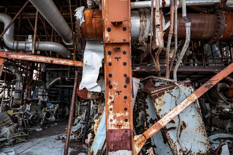 Section d'un bâtiment de réacteur de la centrale nucléaire de Fukushima Daiichi photographiée le 21 février 2021