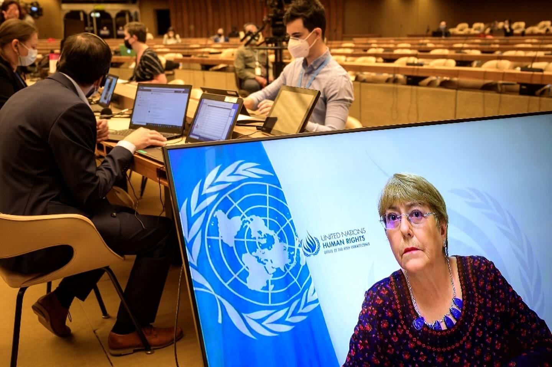 La Haute-Commissaire de l'ONU aux droits de l'homme, Michelle Bachelet, prononce son discours à distance lors de l?ouverture d'une réunion extraordinaire du Conseil des droits de l'homme de l'ONU, le 27 mai 2021