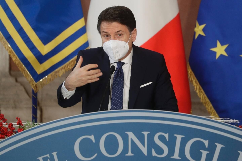 Le chef du gouvernement italien Giuseppe Conte, lors de sa conférence de presse de fin d'année, le 30 décembre 2020 à Rome