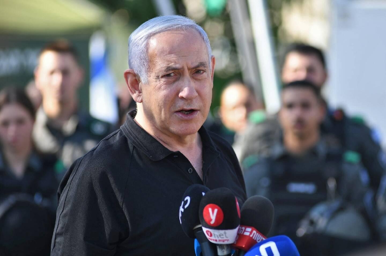 Le Premùier ministre israélien Benjamin Netanyahu à Lod, près de Tel-Aviv, le 13 mai 2021