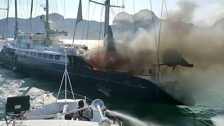 Capture d'écran d'une vidéo de l'incendie du Phocéa le 18 juillet 2021 sur l'île de Lankawi