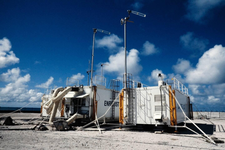 Site d'essai nucléaire sur l'atoll de Moruroa, en octobre 1985