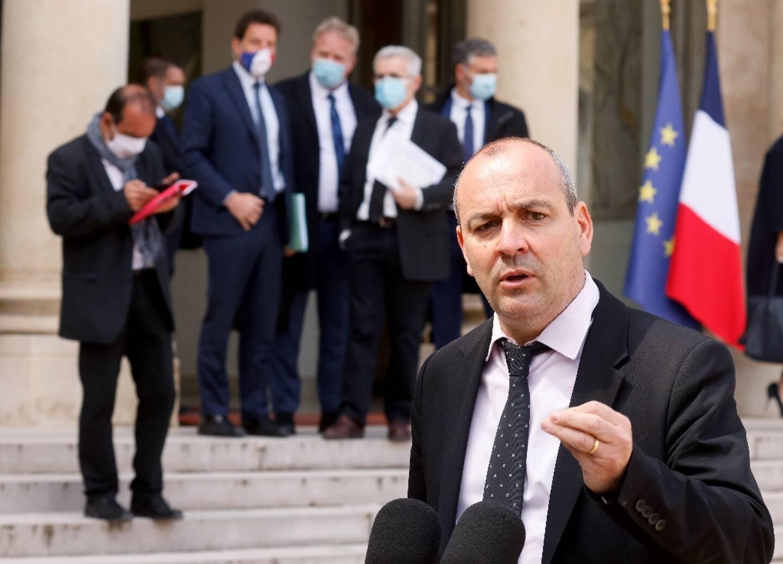 Le secrétaire général de la CFDT, Laurent Berger, à l'Elysée, le 29 avril 2021, avec d'autres responsables syndicaux et patronaux