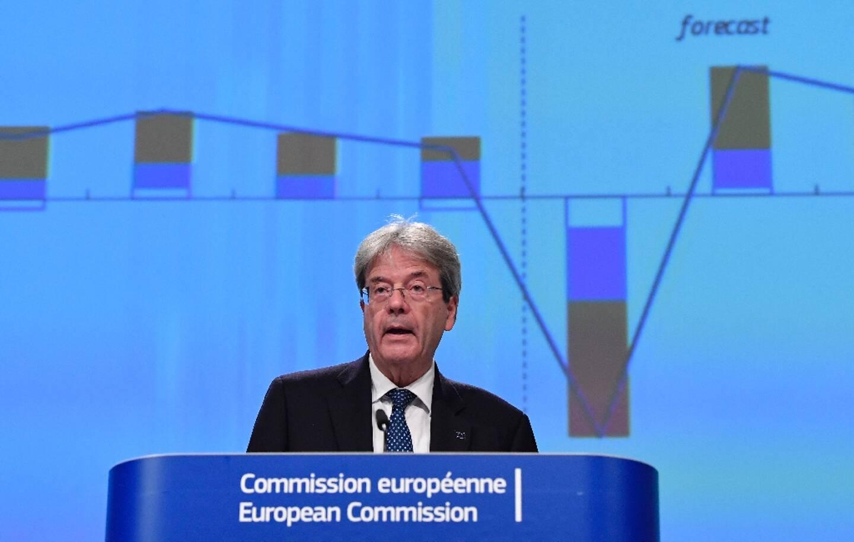 Le commissaire européen à l'Economie, Paolo Gentiloni, lors de la présentation des prévisions économiques de l'UE pour l'année 2020, à Bruxelles le 5 novembre 2020