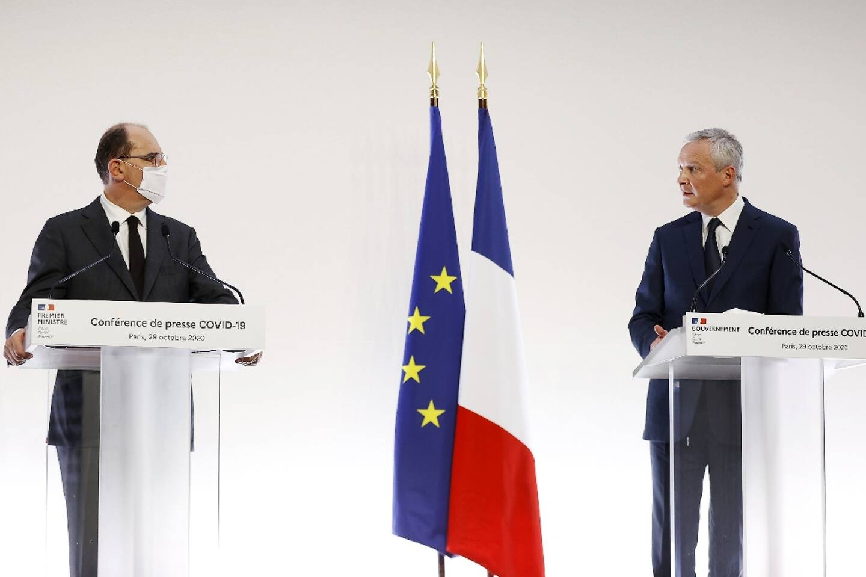 Le Premier ministre Jean Castex et le ministre de l'Economie Bruno Le Maire, lors de la conférence de presse annonçant le deuxième confinement, le 29 octobre 2020