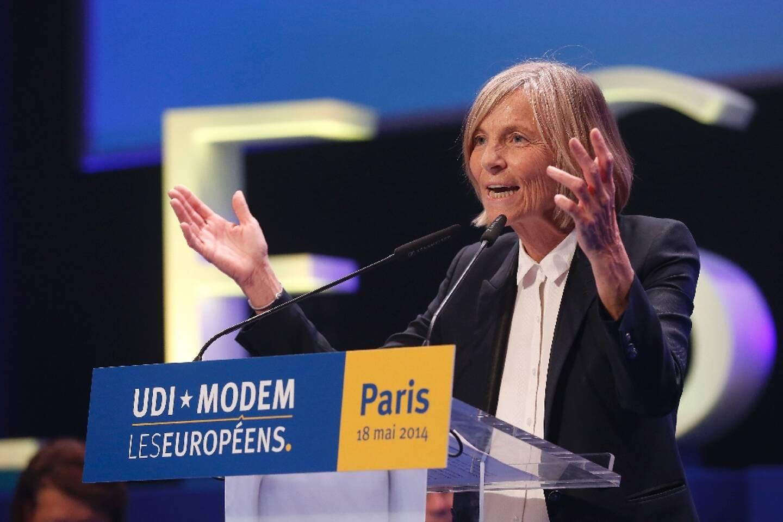 Marielle de Sarnez lors d'un meeting de l'UDI-MODEM avant les élections européennes, à La Plaine-Saint-Denis en Seine-Saint-Denis le 18 mai 2014