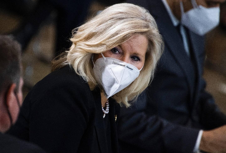 Liz Cheney, élue républicaine du Congrès, lors d'une cérémonie au Capitole le 13 avril 2021 en hommage à un policier tué, William ?Billy? Evans.
