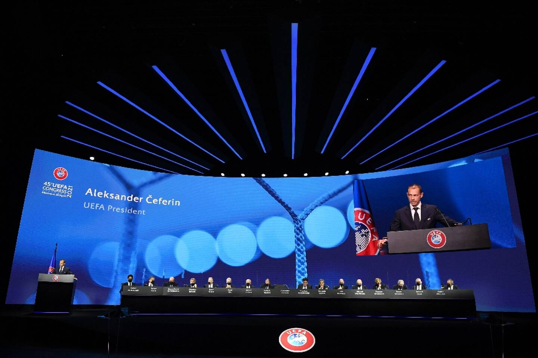 Le président de l'UEFA Aleksander Ceferin s'exprimant devant le congrès de l'instance dédié à la Super Ligue, le 20 avril 2021 à Montreux