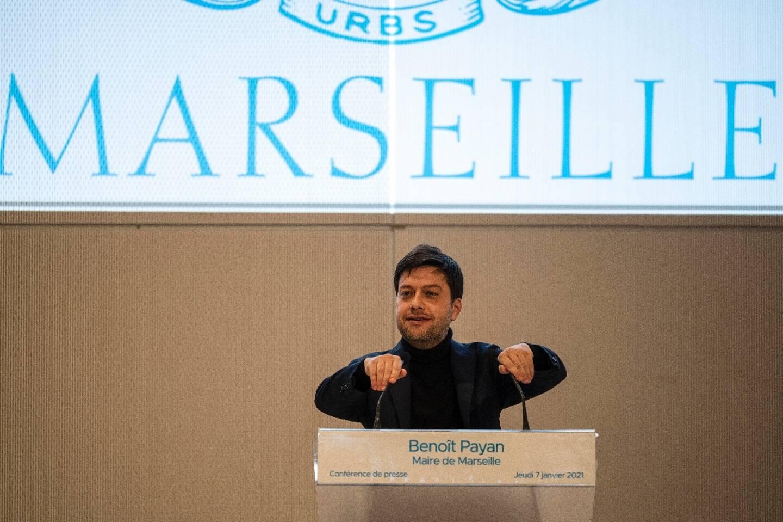 Benoît Payan, le maire de Marseille, lors d'une conférence de presse le 7 janvier 2021