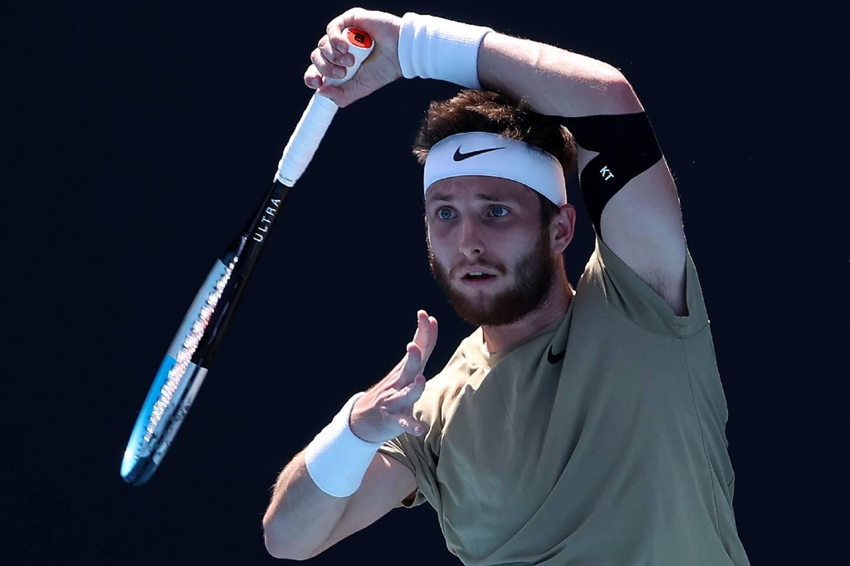 Le Français Corentin Moutet lors de son 2e tour de l'Open d'Australie de tennis, le 10 février 2021 à Melbourne