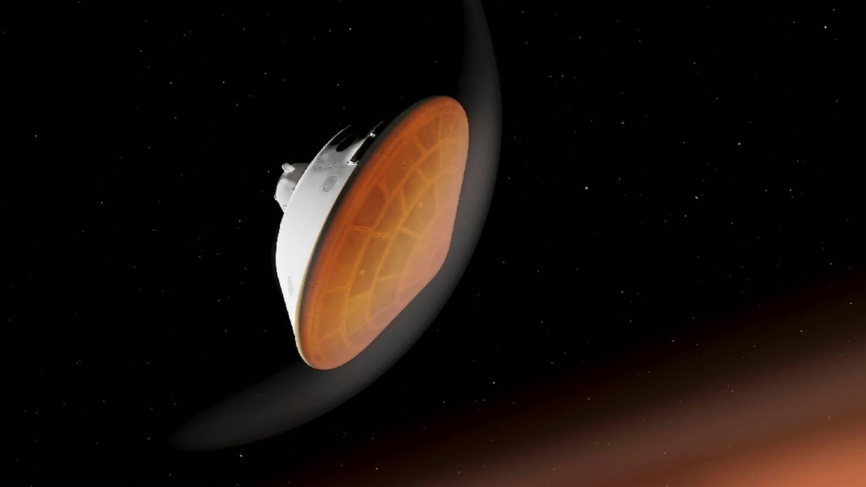 Illustration fournie par la Nasa du vaisseau transportant le rover Perseverance en train d'entrer dans l'atmosphère marsienne