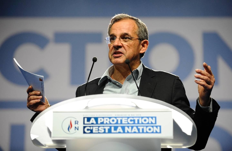 Thierry Mariani, transfuge de la droite au RN, lors d'un meeting en 2019 à Metz avant les élections européennes
