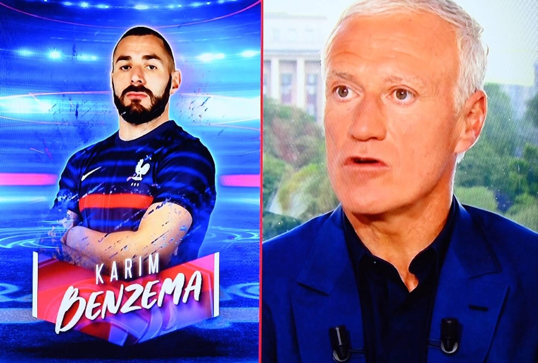 Le sélectionneur des Bleus Didier Deschamps annonce la sélection de Karim Benzema pour l'Euro, le 18 mai 2021 sur le plateau de TF1 à Boulogne-Billancourt