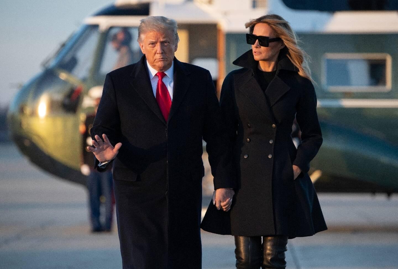 Donald et Melania Trump le 23 décembre 2020 sur la base d'Andrews, près de Washington