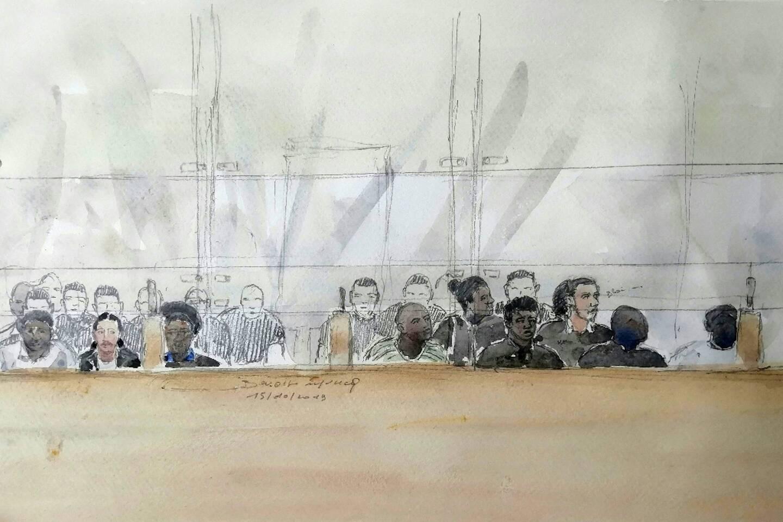 Croquis d'audience réalisé le 15 octobre 2019 lors du premier procès aux assises d'Evry des 13 jeunes accusés d'avoir attaqué en 2016 quatre policiers