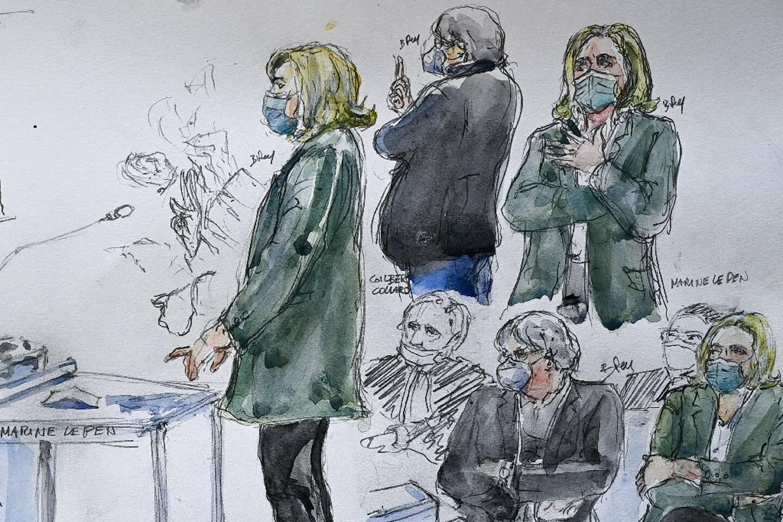 Croquis d'audience du 10 février 2021 représentant la présidente du RN Marine Le Pen devant le tribunal correctionnel de Nanterre, qui la juge pour avoir diffusé des photos d'exactions de l'Etat islamique (EI) sur les réseaux sociaux en 2015