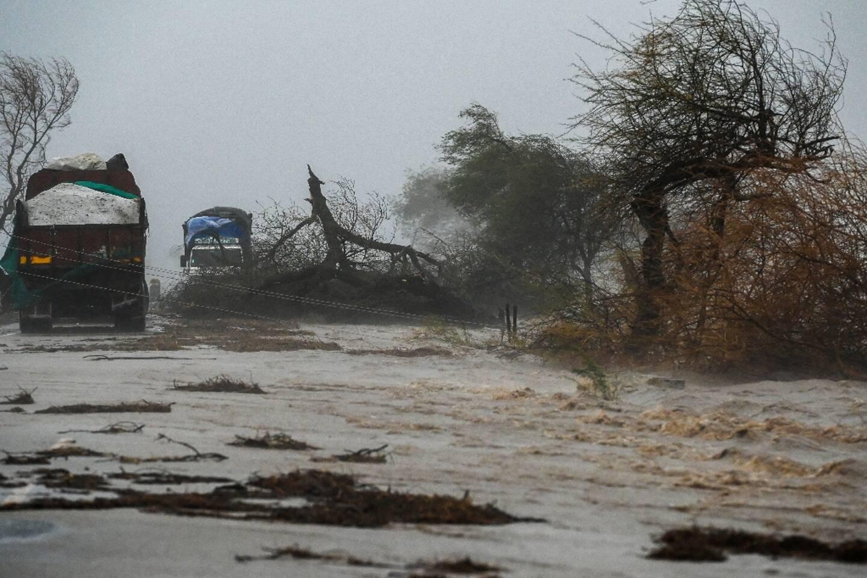 Des arbres arrachés, une route inondées, après le passage du cyclone Tauktae, le 18 mai 2021 près de Diu, en Inde