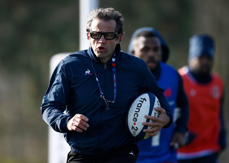 Le sélectionneur du XV de France Fabien Galthié lors d'une séance d'entraînement à Marcoussis, le 11 février 2020