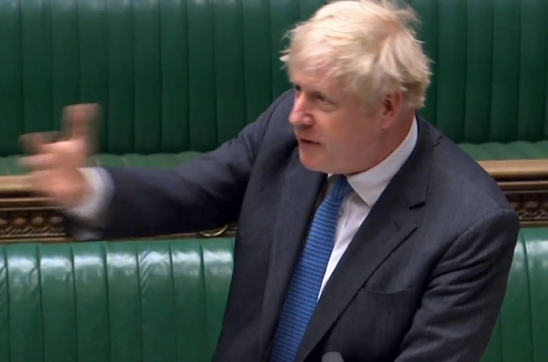 Le Premier ministre britannique Boris Johnson le 28 avril 2021 au parlement, dans une capture d'image vidéo de la Parliamentary Recording Unit (PRU)