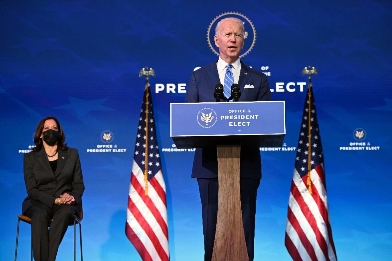 Le président américain élu Joe Biden et la vice-présidente Kamala Harris, le 14 janvier 2021 à Wilmington, dans le Delaware