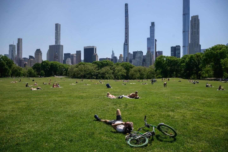 Des gens au soleil dans le Central Park à New York, le 19 mai 2021, après la levée des restrictions contre le Covid-19
