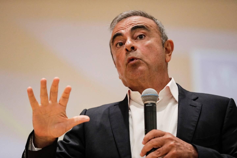 L'ancien magnat de l'automobile Carlos Ghosn lors d'une conférence de presse, le 29 septembre 2020 à Jounieh, au Liban où il s'est réfugié après sa fuite du Japon