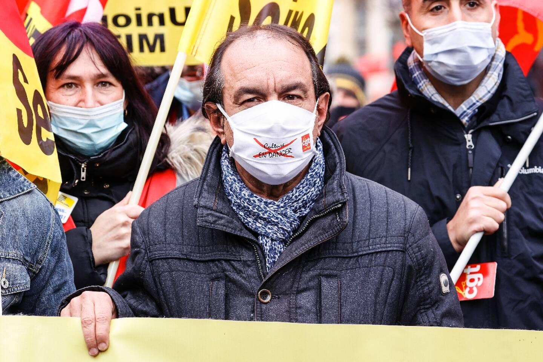 Le secrétaire général de la CGT Philippe Martinez manifeste le 4 février 2021 à Paris