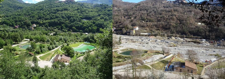 Deux vues du bassin de baignade à six mois d'intervalle. À gauche, en juin 2020. À droite, en janvier 2021.